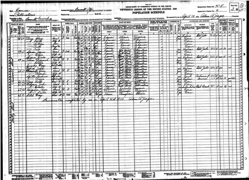 Kansas 1930 census page