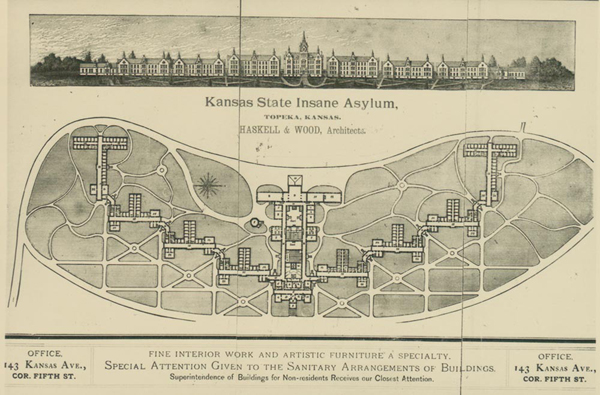 1880 drawing of Topeka State Hospital grounds