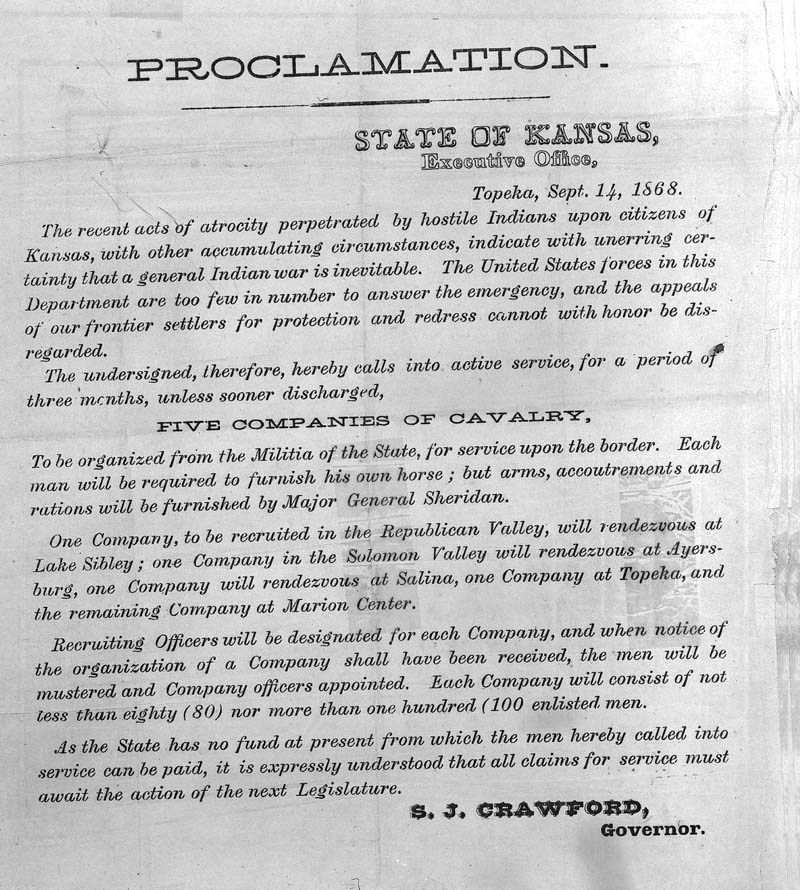 Proclamation activating the 19th Kansas Cavalry