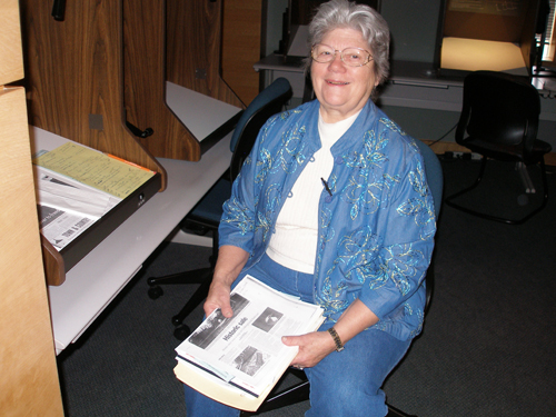 Microfilm volunteer in reading room