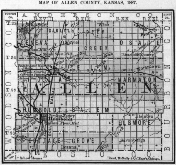 Image of 1887 Allen County, Kansas map showing locations of rural schools, copied from Fifth Biennial Report of the Kansas State Board of Agriculture.