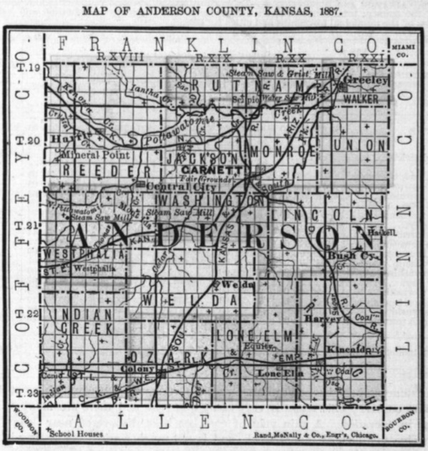 Image of 1887 Anderson County, Kansas map showing locations of rural schools, copied from Fifth Biennial Report of the Kansas State Board of Agriculture.