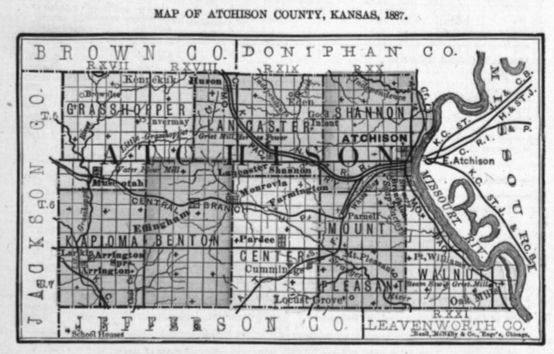 Image of 1887 Atchison County, Kansas map showing locations of rural schools, copied from Fifth Biennial Report of the Kansas State Board of Agriculture.
