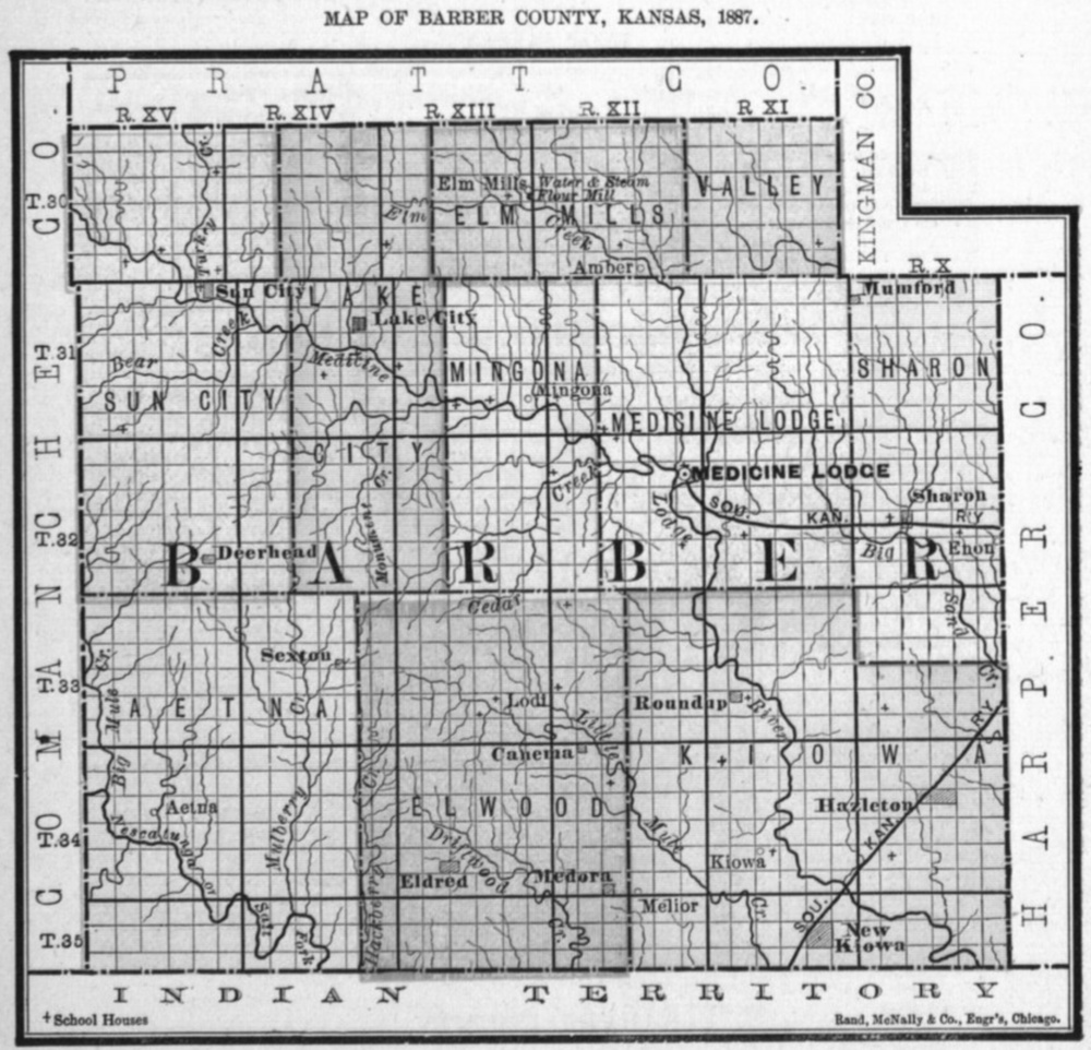 Image of 1887 Barber County, Kansas map showing locations of rural schools, copied from Fifth Biennial Report of the Kansas State Board of Agriculture.