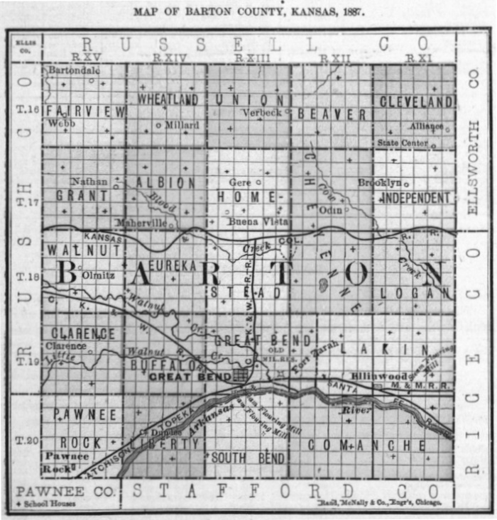 Image of 1887 Barton County, Kansas map showing locations of rural schools, copied from Fifth Biennial Report of the Kansas State Board of Agriculture.