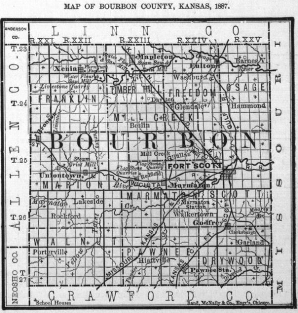 Image of 1887 Bourbon County, Kansas map showing locations of rural schools, copied from Fifth Biennial Report of the Kansas State Board of Agriculture.