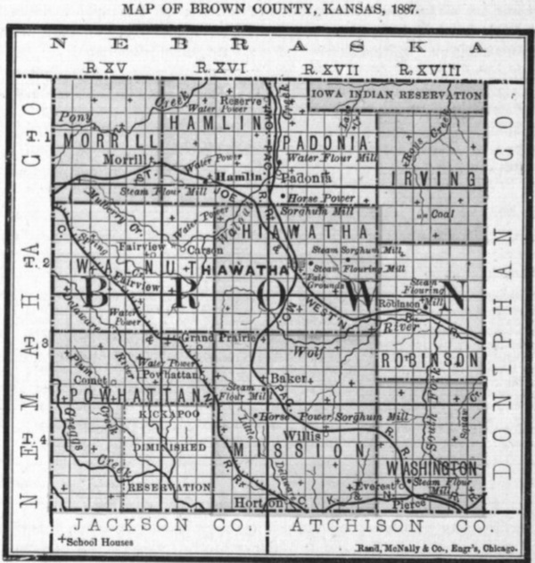 Image of 1887 Brown County, Kansas map showing locations of rural schools, copied from Fifth Biennial Report of the Kansas State Board of Agriculture.