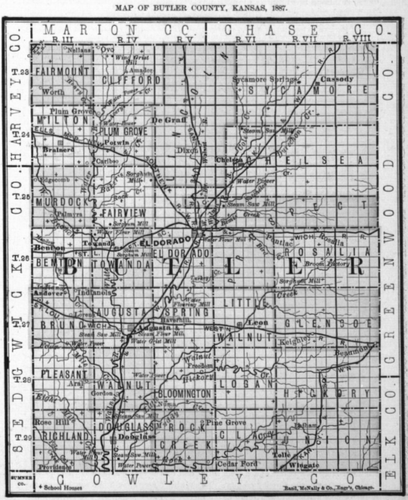 Image of 1887 Butler County, Kansas map showing locations of rural schools, copied from Fifth Biennial Report of the Kansas State Board of Agriculture.