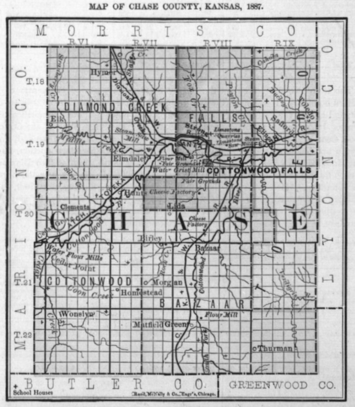Image of 1887 Chase County, Kansas map showing locations of rural schools, copied from Fifth Biennial Report of the Kansas State Board of Agriculture.