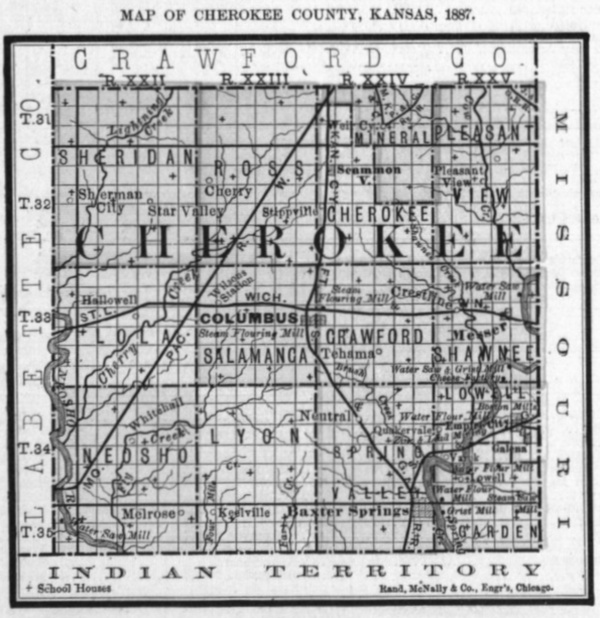 Image of 1887 Cherokee County, Kansas map showing locations of rural schools, copied from Fifth Biennial Report of the Kansas State Board of Agriculture.