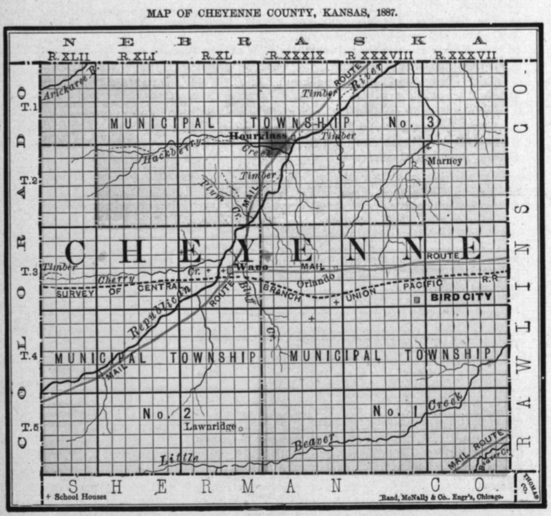 Image of 1887 Cheyenne County, Kansas map showing locations of rural schools, copied from Fifth Biennial Report of the Kansas State Board of Agriculture.
