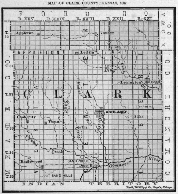 Image of 1887 Clark County, Kansas map showing locations of rural schools, copied from Fifth Biennial Report of the Kansas State Board of Agriculture.