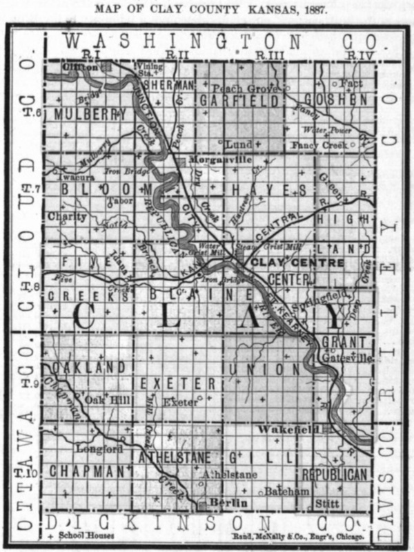 Image of 1887 Clay County, Kansas map showing locations of rural schools, copied from Fifth Biennial Report of the Kansas State Board of Agriculture.