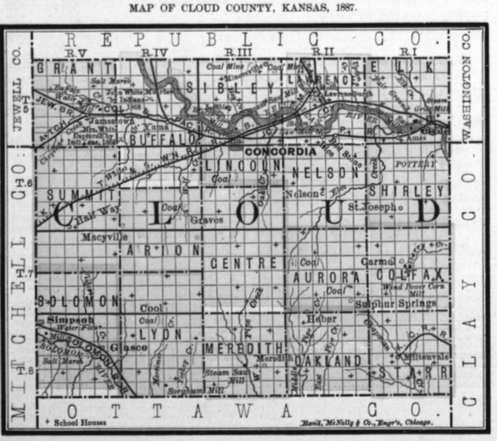 Image of 1887 Cloud County, Kansas map showing locations of rural schools, copied from Fifth Biennial Report of the Kansas State Board of Agriculture.