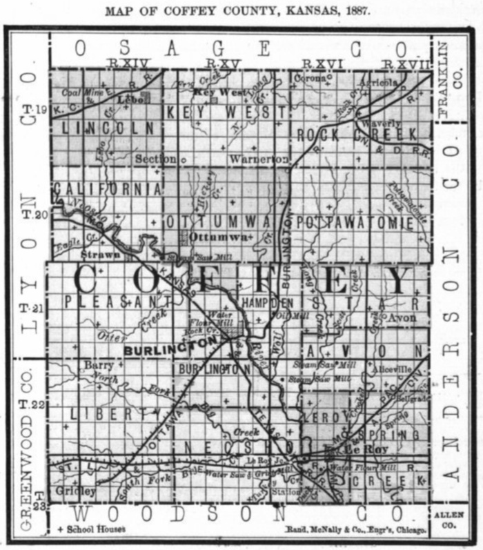 Image of 1887 Coffey County, Kansas map showing locations of rural schools, copied from Fifth Biennial Report of the Kansas State Board of Agriculture.