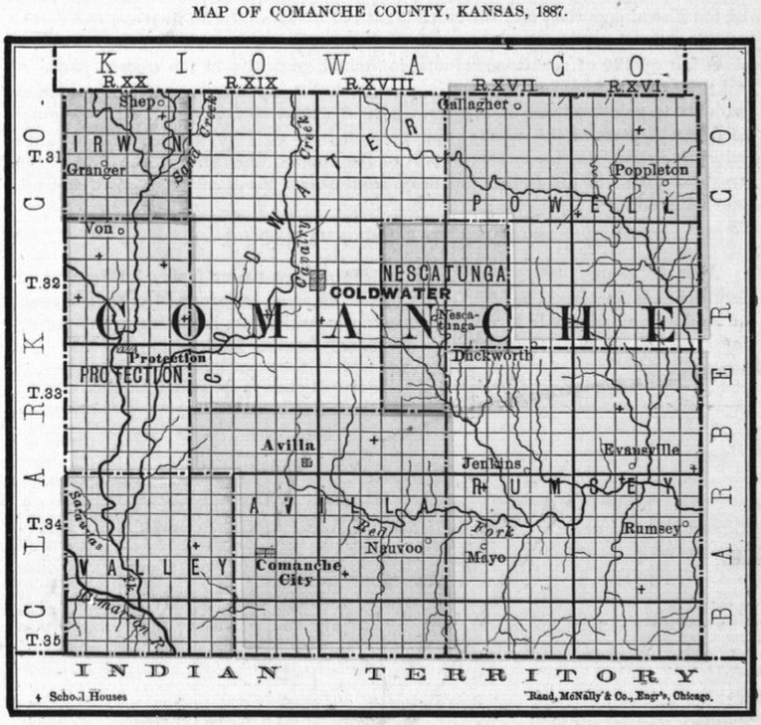 Image of 1887 Comanche County, Kansas map showing locations of rural schools, copied from Fifth Biennial Report of the Kansas State Board of Agriculture.