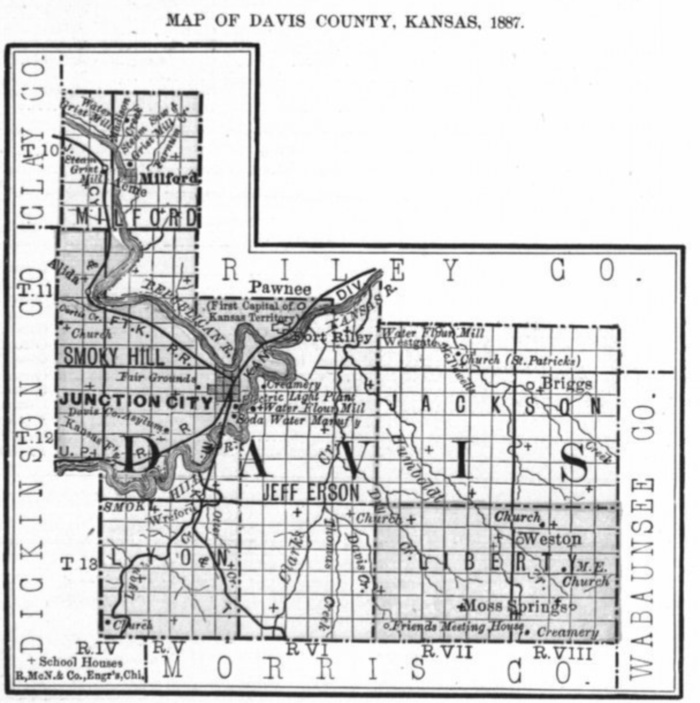 Image of 1887 Davis (later Geary) County, Kansas map showing locations of rural schools, copied from Fifth Biennial Report of the Kansas State Board of Agriculture.