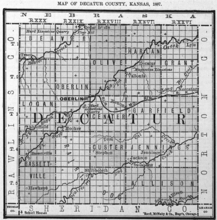 Image of 1887 Decatur County, Kansas map showing locations of rural schools, copied from Fifth Biennial Report of the Kansas State Board of Agriculture.