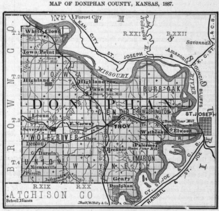 Image of 1887 Doniphan County, Kansas map showing locations of rural schools, copied from Fifth Biennial Report of the Kansas State Board of Agriculture.