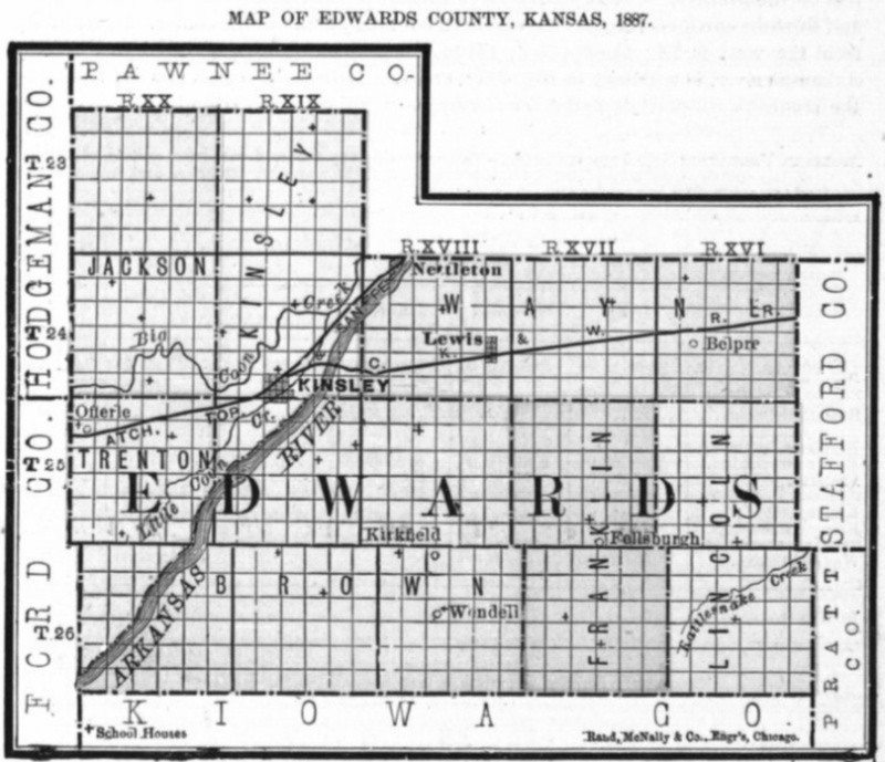 Image of 1887 Edwards County, Kansas map showing locations of rural schools, copied from Fifth Biennial Report of the Kansas State Board of Agriculture.