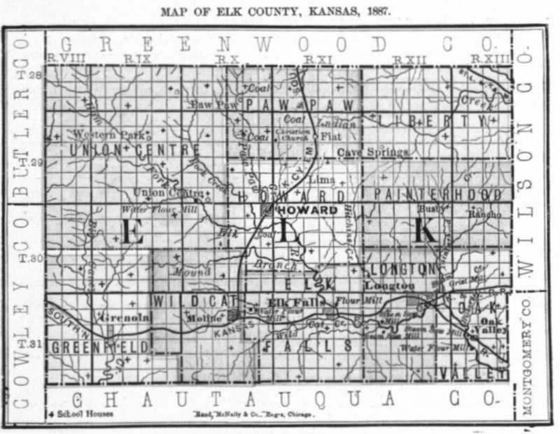 Image of 1887 Elk County, Kansas map showing locations of rural schools, copied from Fifth Biennial Report of the Kansas State Board of Agriculture.
