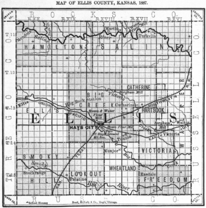 Image of 1887 Ellis County, Kansas map showing locations of rural schools, copied from Fifth Biennial Report of the Kansas State Board of Agriculture.