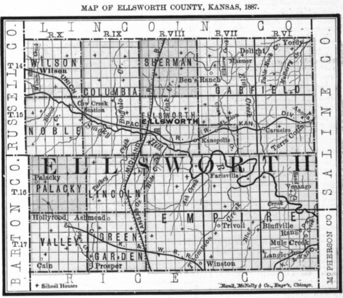 Image of 1887 Ellsworth County, Kansas map showing locations of rural schools, copied from Fifth Biennial Report of the Kansas State Board of Agriculture.