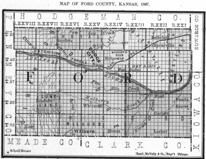 Image of 1887 Ford County, Kansas map showing locations of rural schools, copied from Fifth Biennial Report of the Kansas State Board of Agriculture.