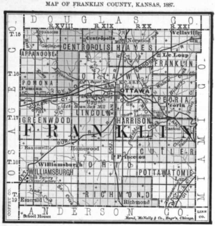 Image of 1887 Franklin County, Kansas map showing locations of rural schools, copied from Fifth Biennial Report of the Kansas State Board of Agriculture.