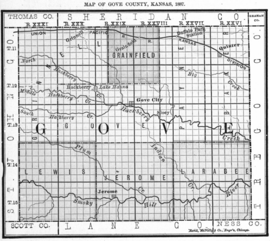 Image of 1887 Gove County, Kansas map, copied from Fifth Biennial Report of the Kansas State Board of Agriculture.