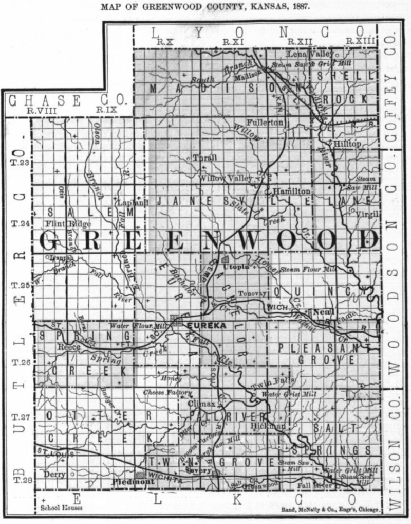 Image of 1887 Greenwood County, Kansas map showing locations of rural schools, copied from Fifth Biennial Report of the Kansas State Board of Agriculture.