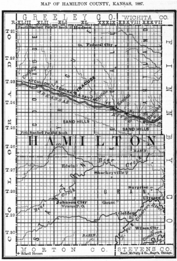 Image of 1887 Hamilton County, Kansas map showing locations of rural schools, copied from Fifth Biennial Report of the Kansas State Board of Agriculture.