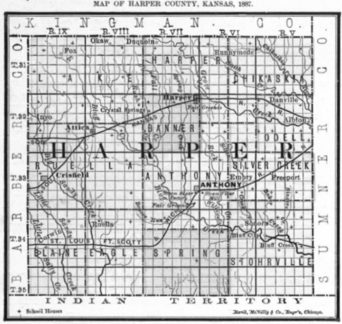 Image of 1887 Harper County, Kansas map showing locations of rural schools, copied from Fifth Biennial Report of the Kansas State Board of Agriculture.