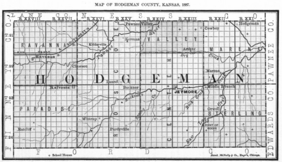 Image of 1887 Hodgeman County, Kansas map showing locations of rural schools, copied from Fifth Biennial Report of the Kansas State Board of Agriculture.