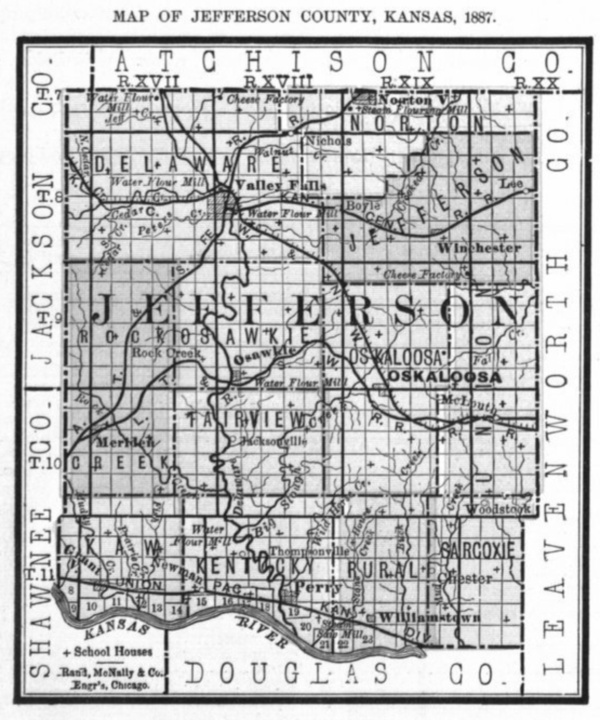 Image of 1887 Jefferson County, Kansas map showing locations of rural schools, copied from Fifth Biennial Report of the Kansas State Board of Agriculture.