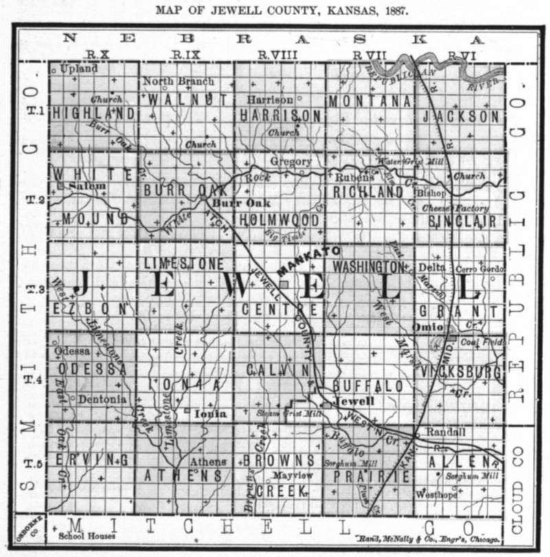 Image of 1887 Jewell County, Kansas map showing locations of rural schools, copied from Fifth Biennial Report of the Kansas State Board of Agriculture.