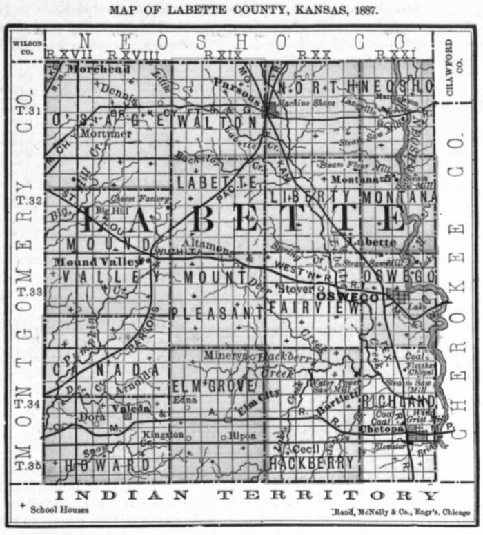 Image of 1887 Labette County, Kansas map showing locations of rural schools, copied from Fifth Biennial Report of the Kansas State Board of Agriculture.