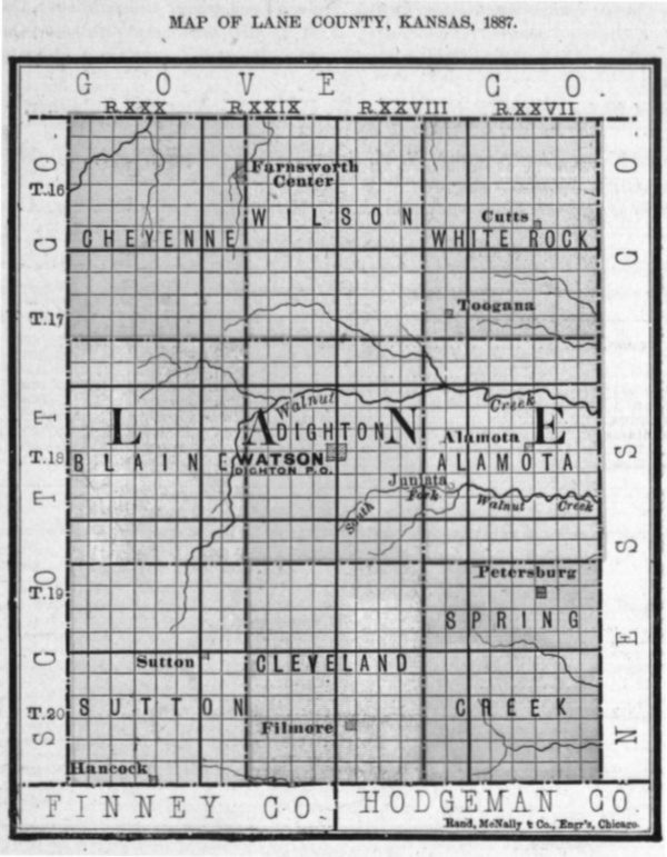 Image of 1887 Lane County, Kansas map, copied from Fifth Biennial Report of the Kansas State Board of Agriculture.