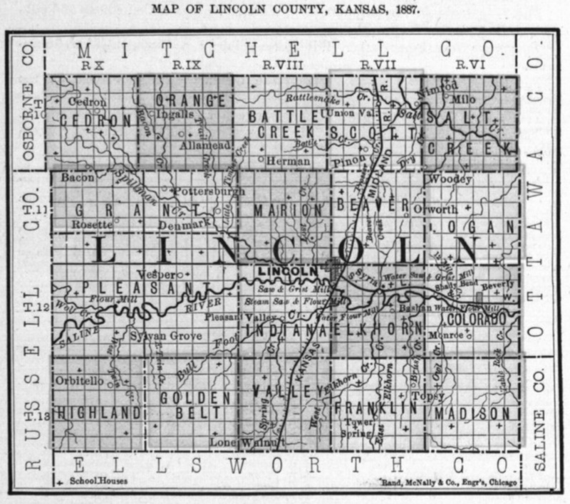 Image of 1887 Lincoln County, Kansas map showing locations of rural schools, copied from Fifth Biennial Report of the Kansas State Board of Agriculture.