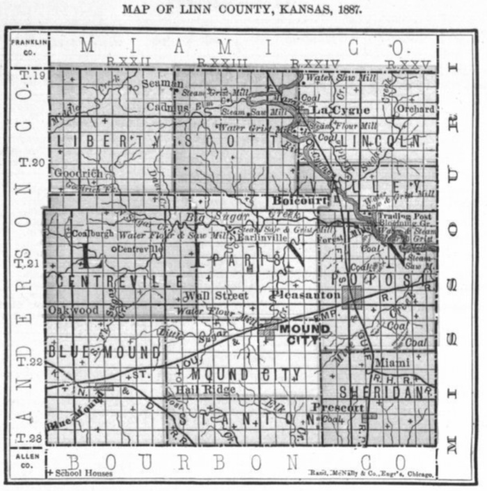 Image of 1887 Linn County, Kansas map showing locations of rural schools, copied from Fifth Biennial Report of the Kansas State Board of Agriculture.