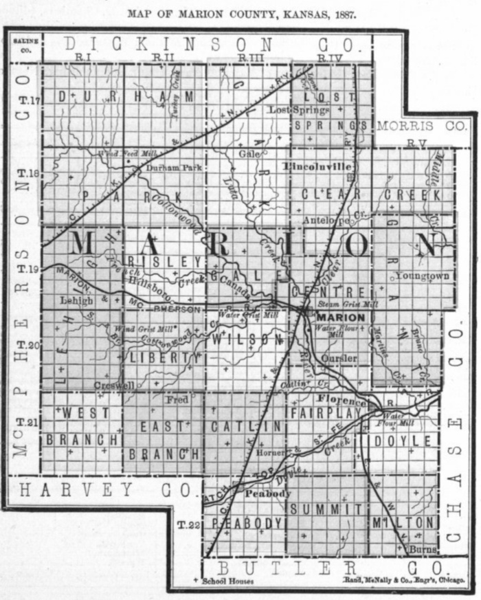 Image of 1887 Marion County, Kansas map showing locations of rural schools, copied from Fifth Biennial Report of the Kansas State Board of Agriculture.