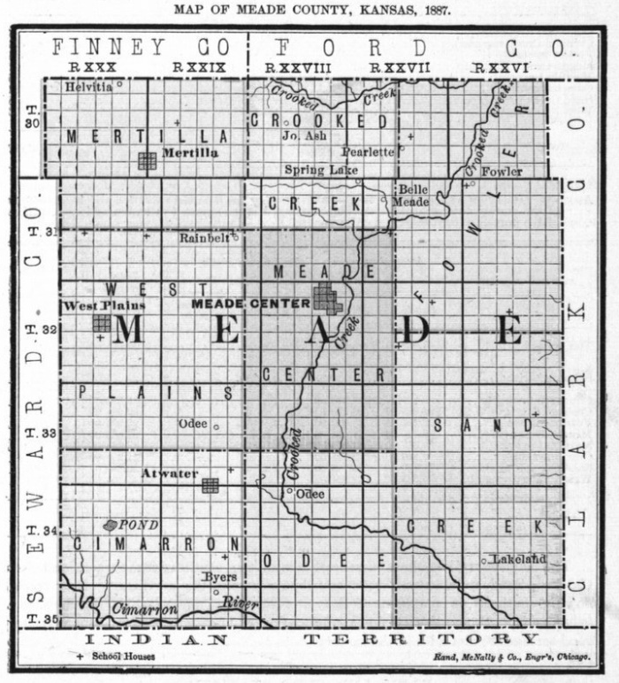 Image of 1887 Meade County, Kansas map showing locations of rural schools, copied from Fifth Biennial Report of the Kansas State Board of Agriculture.