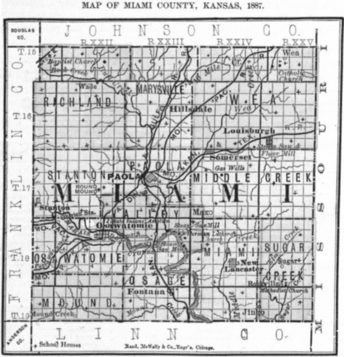 Image of 1887 Miami County, Kansas map showing locations of rural schools, copied from Fifth Biennial Report of the Kansas State Board of Agriculture.