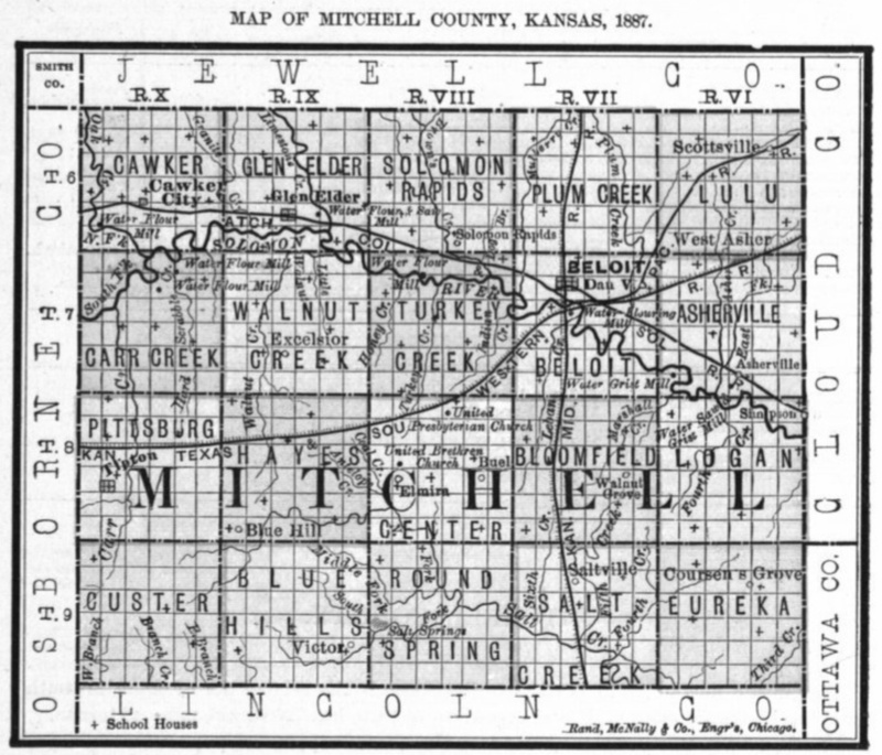 Image of 1887 Mitchell County, Kansas map showing locations of rural schools, copied from Fifth Biennial Report of the Kansas State Board of Agriculture.