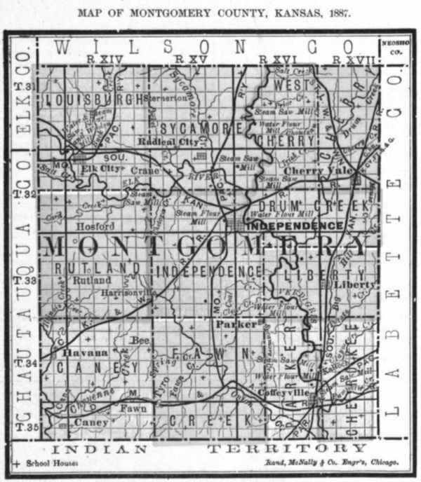 Image of 1887 Montgomery County, Kansas map showing locations of rural schools, copied from Fifth Biennial Report of the Kansas State Board of Agriculture.