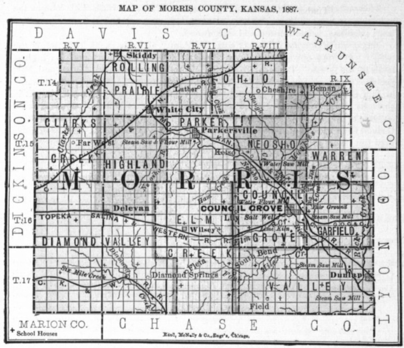 Image of 1887 Morris County, Kansas map showing locations of rural schools, copied from Fifth Biennial Report of the Kansas State Board of Agriculture.