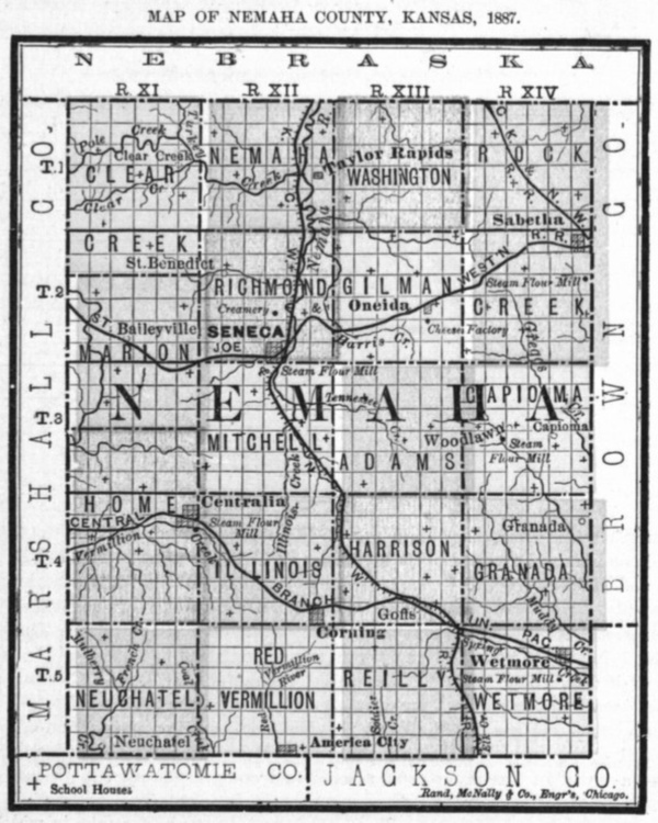 Image of 1887 Nemaha County, Kansas map showing locations of rural schools, copied from Fifth Biennial Report of the Kansas State Board of Agriculture.