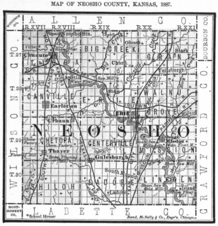 Chanute Kansas Map.Neosho County Schools Bibliography Kansas Historical Society