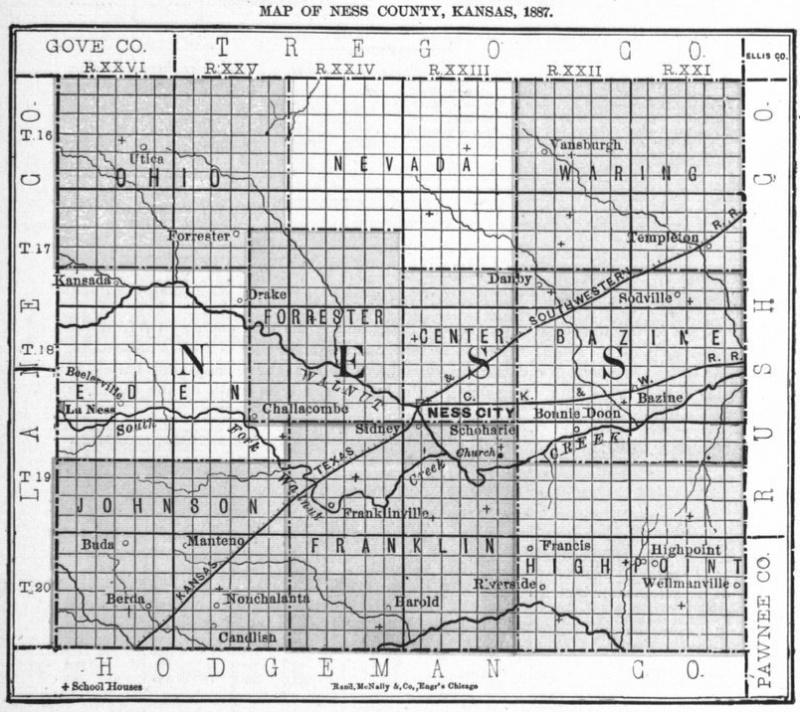 Image of 1887 Ness County, Kansas map showing locations of rural schools, copied from Fifth Biennial Report of the Kansas State Board of Agriculture.