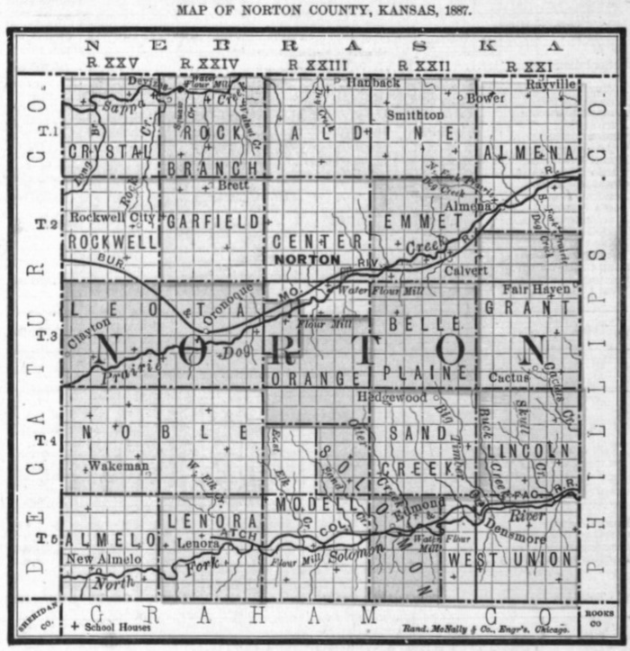 Image of 1887 Norton County, Kansas map showing locations of rural schools, copied from Fifth Biennial Report of the Kansas State Board of Agriculture.